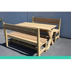 Cross Base Wooden Bench Set