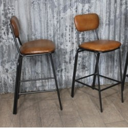 Tube High chairs leather studded