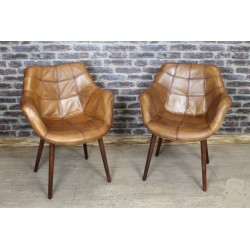 Retro Style Leather Tub Chair